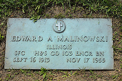 31 August 2017:   Veterans graves in Park Hill Cemetery in eastern McLean County.<br /> <br /> Edward A Malinowski  Illinois SFC  H&S Co 103 Engr BN  Sept 16 1913  Nov 17 1955