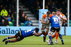 Ted Hill of Worcester Warriors is tackled - Mandatory by-line: Robbie Stephenson/JMP - 15/02/2020 - RUGBY - Sixways Stadium - Worcester, England - Worcester Warriors v Bath Rugby - Gallagher Premiership Rugby