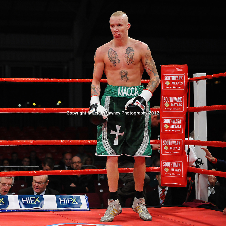 Youseff Al Hamid defeats Tommy Carus (pictured) in a 4x3 Lightweight contest on the 30th November 2012 at Aintree Equestrian Centre, Aintree, Liverpool. Frank Maloney Promotions. Pictures by Leigh Dawney. ©leighdawneyphotography 2012.