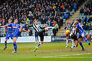 Plymouth Argyle's Ryan Brunt stretches his leg out to try and reach a cross during the Sky Bet League 2 match between Plymouth Argyle and Notts County at Home Park, Plymouth, England on 27 February 2016. Photo by Graham Hunt.