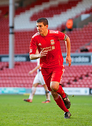 LIVERPOOL, ENGLAND - Saturday, January 8th, 2011: Liverpool's captain Conor Coady celebrates scoring the third goal against Crystal Palace during the FA Youth Cup match at Anfield. (Photo by David Tickle/Propaganda)