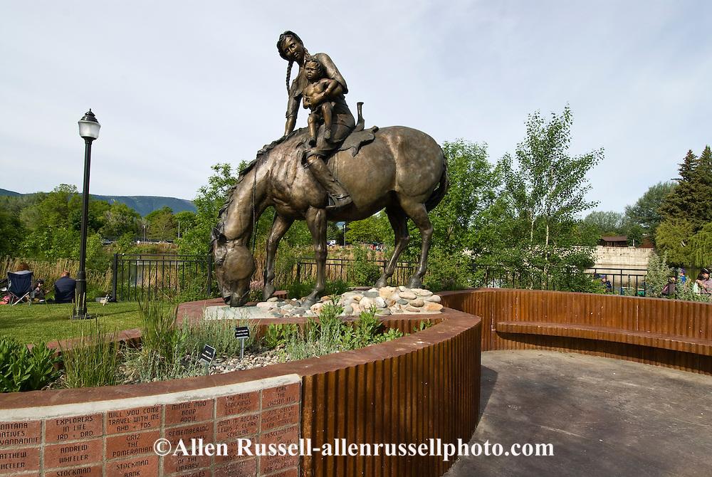 Sacajawea statue and baby Pompey, companion of Lewis and Clark, Sacajawea Park, Livingston, Montana
