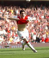 Photo: Tony Oudot.<br /> Arsenal v Bolton Wanderers. The Barclays Premiership. 14/04/2007.<br /> Cesc Fabregas celebrates his winning goal for Arsenal