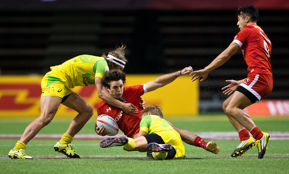 Canada plays Australia at the HSBC Sevens World Series XVII Round 6 at B.C. Place Stadium in Vancouver British Columbia on March 12, 2016. Canada beat Australia 14-12.