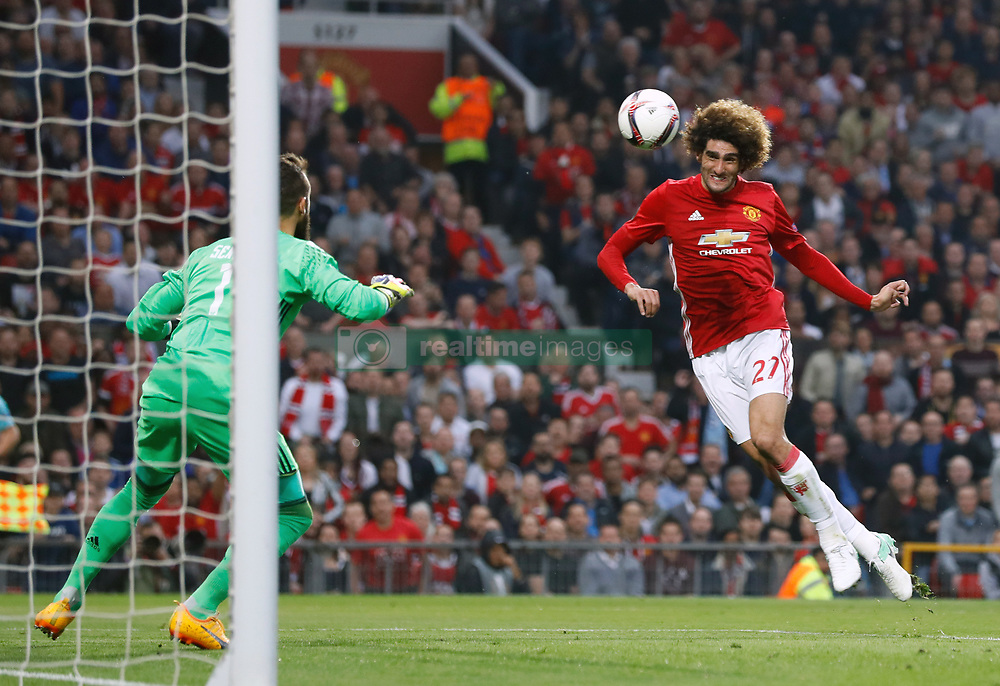 Manchester United's Marouane Fellaini scores his side's first goal of the game during the UEFA Europa League, Second Leg match at Old Trafford, Manchester.