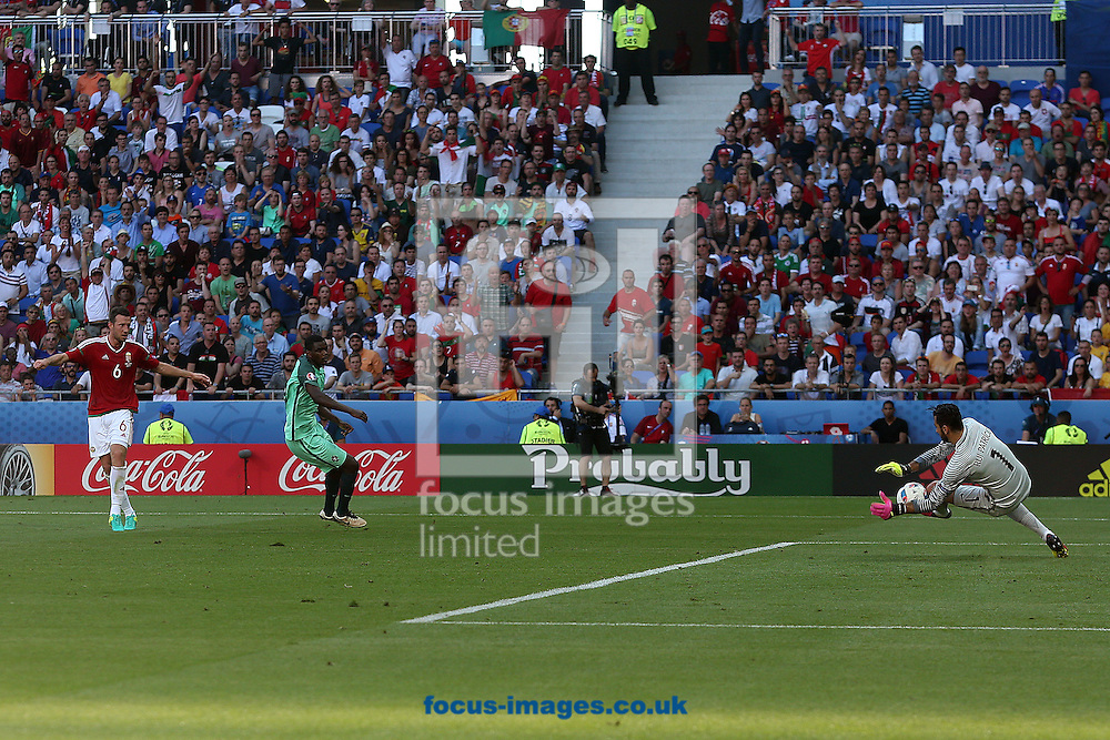 Akos Elek of Hungary sees his shot saved by Rui Patricio of Portugal during the UEFA Euro 2016 match at Stade de Lyons, Lyons<br /> Picture by Paul Chesterton/Focus Images Ltd +44 7904 640267<br /> 22/06/2016