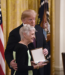 US President Donald Trump awards the Presidential Medal of Freedom to the late Supreme Court Justice Antonin Scalia, his wife Maureen Scalia accepting, at the White House in Washington, DC, on November 16, 2018. - The Medal is the highest civilian award of the United States.. Photo by Olivier Douliery/ABACAPRESS.COM