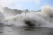 TAIZHOU, CHINA - SEPTEMBER 16: <br /> Wave surges on bank as Typhoon Malakas approaches in Wenling on September 16, 2016 in Taizhou, Zhejiang Province of China. Typhoon Malakas is approaching China and will bring heavy storms to East China on Saturday. <br /> ©Exclusivepix Media