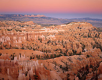 Evening afterglow over Bryce Canyon from canyon rim, Bryce Canyon National Park Utah USA