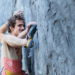 Adam Ondra working a new 5.15b at Acephale in Canmore, Alberta
