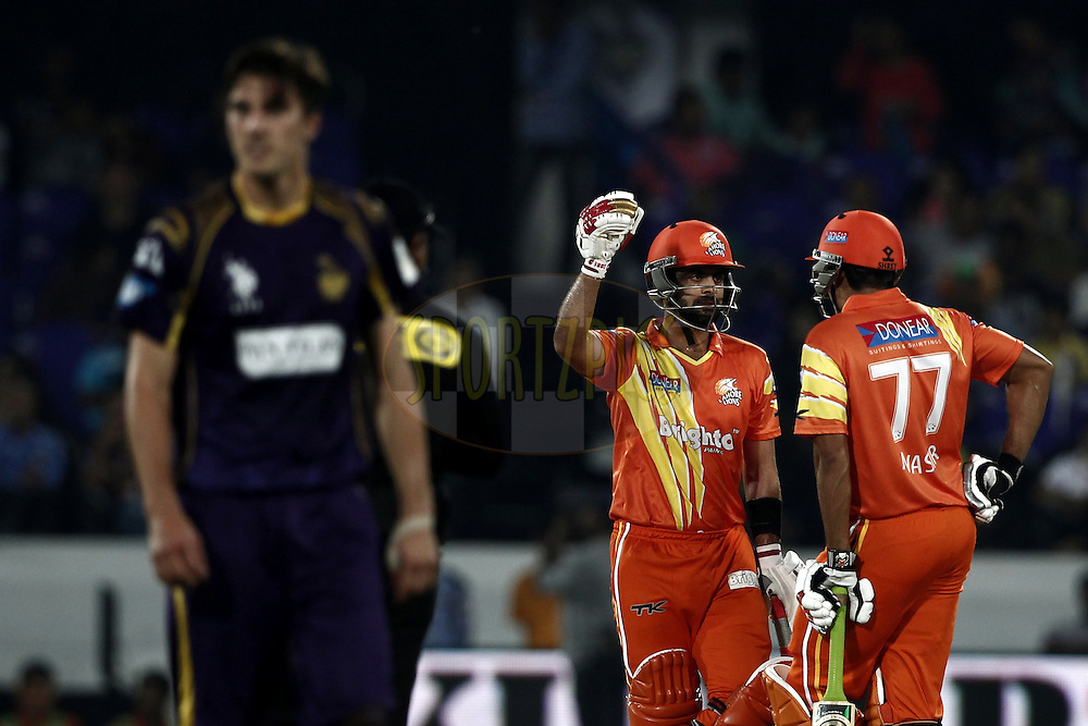 Ahmed Shehzad of the LAHORE LIONS with Nasir Jamshed of the LAHORE LIONS during match 7 of the Oppo Champions League Twenty20 between the Kolkata Knight Riders and the Lahore Lions held at the Rajiv Gandhi Cricket Stadium, Hyderabad, India on the 21st September 2014<br /> <br /> Photo by:  Deepak Malik / Sportzpics/ CLT20<br /> <br /> <br /> Image use is subject to the terms and conditions as laid out by the BCCI/ CLT20.  The terms and conditions can be downloaded here:<br /> <br /> http://sportzpics.photoshelter.com/gallery/CLT20-Image-Terms-and-Conditions-2014/G0000IfNJn535VPU/C0000QhhKadWcjYs