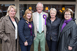 © Licensed to London News Pictures . 04/06/2014 . Newark , Nottinghamshire , UK . L-R Jill Seymour ( MEP for West Midlands ) , Janice Atkinson ( MEP for South East )  , UKIP candidate for Newark Roger Helmer , Jane Collins ( MEP for Yorkshire and the Humber ) and Margot Parker ( MEP for East Midlands ) at UKIP Women MEPs event in Newark today (Wednesday 4th June 2014) ahead of the Newark by-election tomorrow (Thursday 5th June 2014) . Photo credit : Joel Goodman/LNP