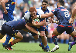 Cape Town-180427 Rebels Micheal Ruru tackles Stomers Stephen Kitshoff when the two teams played the super 15 match at newlands Stadium .photograph:Phando Jikelo/African News Agency/ANA