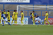 Macclesfield score from a free kick during the EFL Sky Bet League 2 match between Macclesfield Town and Cheltenham Town at Moss Rose, Macclesfield, United Kingdom on 21 August 2018.