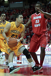 22 January 2014: Fred VanVleet & John Jones during an NCAA Missouri Valley Conference mens basketball game between the Shockers of Wichita Stat and the Illinois State Redbirds  in Redbird Arena, Normal IL.