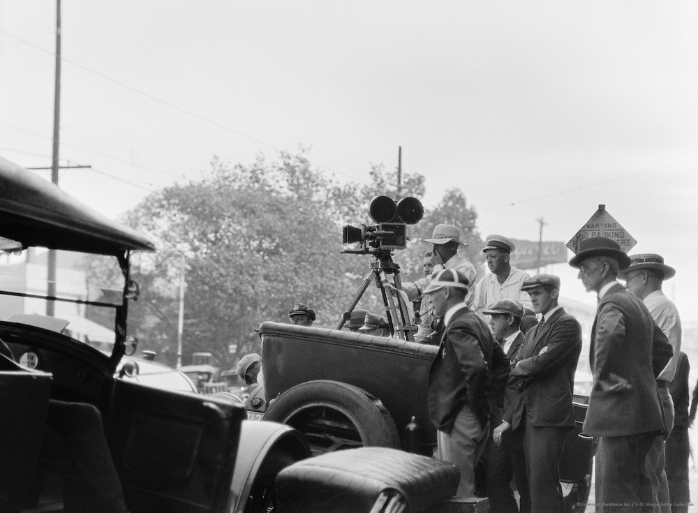 Film crew during film production, Los Angeles, California, USA, 1926