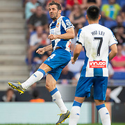 BARCELONA, SPAIN - August 18: Victor Sanchez #4 of Espanyol heads clear during the Espanyol V  Sevilla FC, La Liga regular season match at RCDE Stadium on August 18th 2019 in Barcelona, Spain. (Photo by Tim Clayton/Corbis via Getty Images)