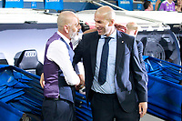Real Madrid's coach Zinedine Zidane (r) and ACF Fiorentina's coach Stefano Pioli during Santiago Bernabeu Trophy. August 23,2017. (ALTERPHOTOS/Acero)