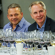 Seattle Wine Awards and Happy Hour Radio Celebrity Wine Challenge 2015. David LeClaire, Seattle Uncorked and Tom Norwalk, Visit Seattle. Photo by Alabastro Photography.