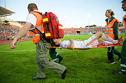 OSLO, NORWAY - Wednesday, August 5, 2009: Liverpool's Albert Riera is carried off injured against FC Lyn Oslo during a preseason match at the Bislett Stadion. (Pic by David Rawcliffe/Propaganda)