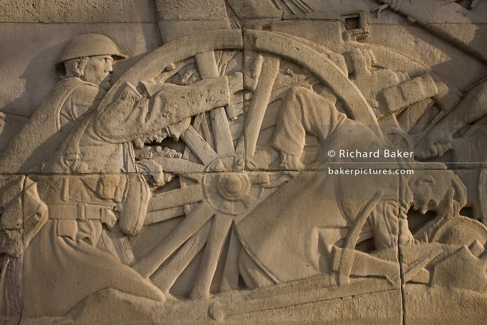 Granite reliefs depicting suffering in First World War battles on the side of the Royal Artillery war memorial at Hyde Park.