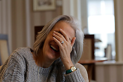 UK ENGLAND FOWEY 19FEB15 - Best-selling author Tatiana de Rosnay reacts during interview in Fowey, Cornwall, England. De Rosnay, author of 'Sarah's Key' and numerous other novels,  has recently completed a French biography of English novellist Daphne du Maurier who lived in Fowey.<br /> <br /> Fowey, a small fishing and harbour village was the living place of famous English writer Daphne Du Maurier and many of her novels are based here.<br /> <br /> jre/Photo by Jiri Rezac<br /> <br /> © Jiri Rezac 2015