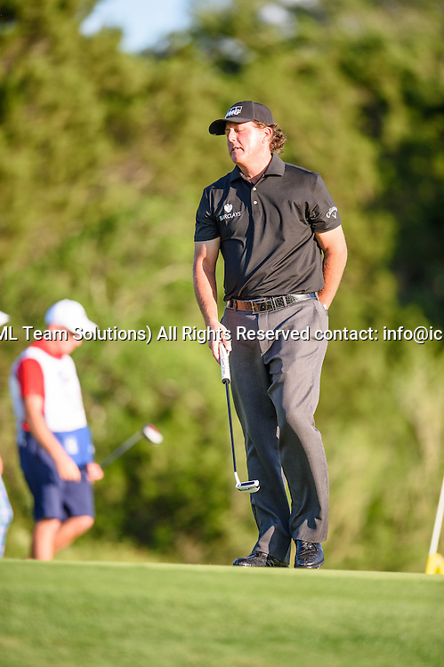 21 April 2016:  Phil Mickelson during the first round of the Valero Texas Open at the TPC San Antonio Oaks Course in San Antonio, TX. (Photo by Daniel Dunn/Icon Sportswire)