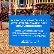 The City of Orlando has banned all city playgrounds due to the Coronavirus (COVID-19) threat on Monday, March 30, 2020 in Orlando, Florida. (Alex Menendez via AP)
