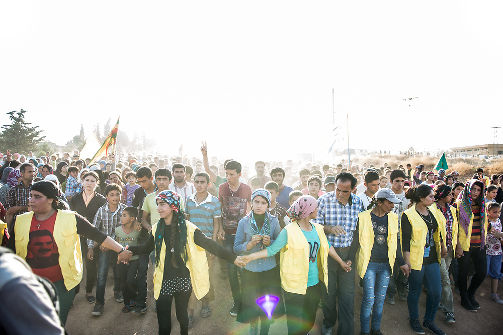People are going to the Martyrs' Cemetery of Kobanê to bury YPG fighters and medics who were killed during the fight against ISIS.  Kobanê (Ayn al-Arab), Syria, June 15, 2015