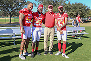Jan 25, 2019; Kissimmee, FL, USA; Pittsburgh Steelers center Mike Pouncey (53) Los Angeles Chargers running back Melvin Gordon lll (28) and offensive coordinator Ken Whisenhunt and Tampa Bay Buccaneers wide receiver Mike Evans (13) after the NFC team photo for the 2019 Pro Bowl at ESPN Wide World of Sports Complex. (Kim Hukari/Image of Sport)