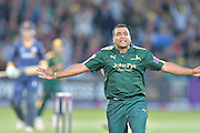 Samit Patel celebrating the wicket of Ashar Zaidi (not shown) t during the Natwest T20 Blast quarter final match between Nottinghamshire County Cricket Club and Essex County Cricket Club at Trent Bridge, West Bridgford, United Kingdom on 8 August 2016. Photo by Simon Trafford.