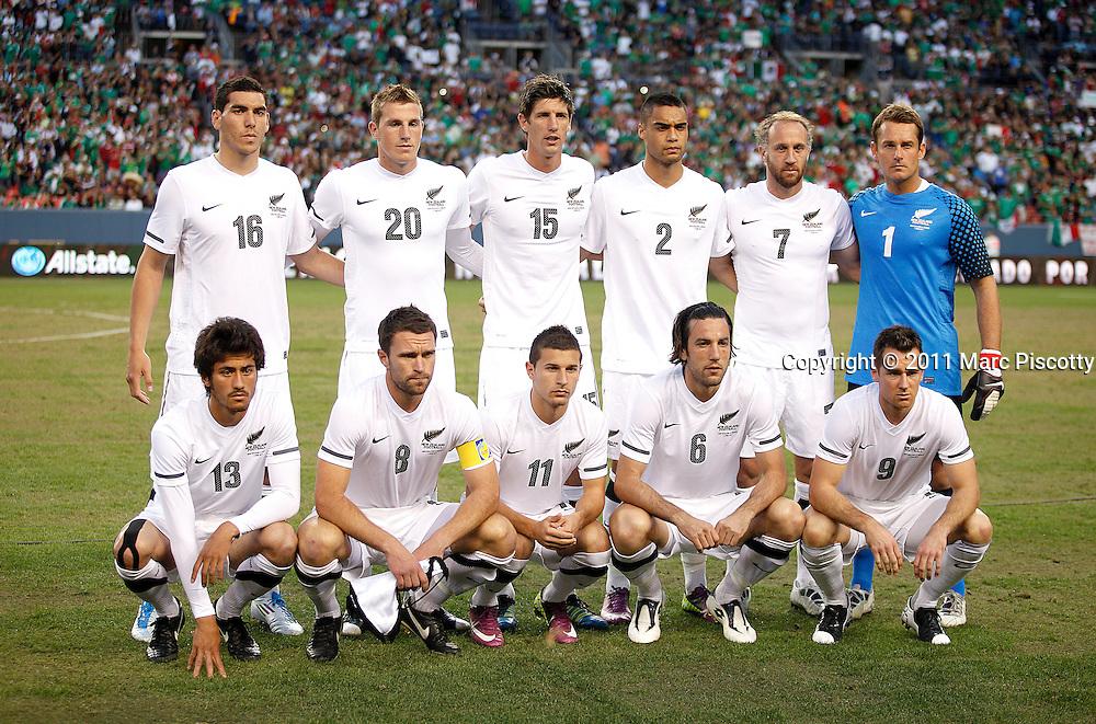 SHOT 6/1/11 8:04:24 PM - A team photo of New Zealand's starters before their friendly against Mexico as part of the 2011 FMF U.S. Tour at Invesco Field in Denver, Co. Mexico won the match 3-0. (Photo by Marc Piscotty / © 2011)