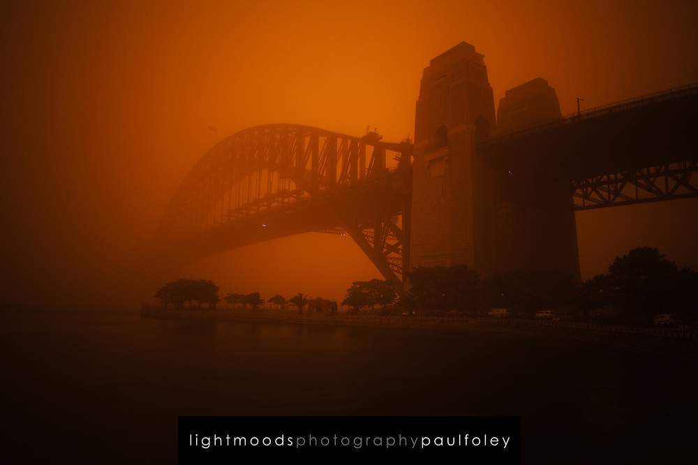 Sydney Harbour Bridge during dust storm, September 23, 2009. The Dust storm was caused by gale force winds blowing in from the drought stricken inland. The storm was described as being the worst in 70 years.