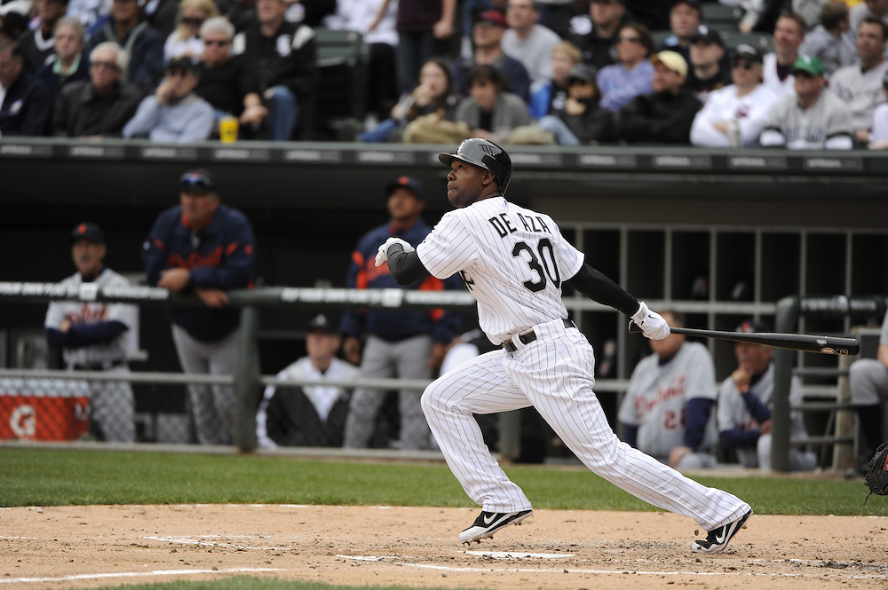CHICAGO - APRIL 13:  Alejandro De Aza #30 of the Chicago White Sox bats against the Detroit Tigers  on April 13, 2012 bats U.S. Cellular Field in Chicago, Illinois.  The White Sox defeated the Tigers 5-2.  (Photo by Ron Vesely)   Subject:  Alejandro De Aza