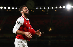 Arsenal's Olivier Giroud celebrates scoring his side's fifth goal of the game from the penalty spot
