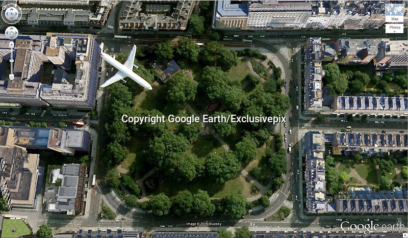Amazing captures from Google earth<br /> Photo Shows: Russell Square<br /> Bloomsbury, London, United Kingdom<br /> &copy;Google Earth/Exclusivepix