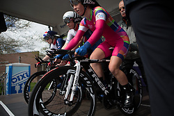 Alice Barnes (GBR) of Team GB prepares for Stage 2 of the Healthy Ageing Tour - a 19.6 km team time trial, starting and finishing in Baflo on April 6, 2017, in Groeningen, Netherlands.