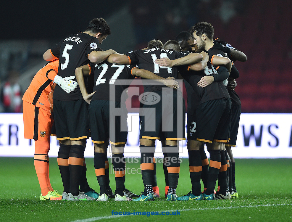 The players of Hull City Tigers in a pre match huddle during the EFL Cup match at Ashton Gate, Bristol<br /> Picture by Daniel Hambury/Focus Images Ltd +44 7813 022858<br /> 25/10/2016