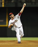 Jul. 26, 2012; Phoenix, AZ, USA; Arizona Diamondbacks pitcher Wade Miley (36)  pitches during the game against the New York Mets at Chase Field. The Mets defeated the Diamondbacks 3-1.  Mandatory Credit: Jennifer Stewart-US PRESSWIRE.
