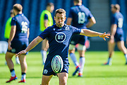 Scotland scrum-half Greig Laidlaw practices kicking during the Scotland Rugby training run ahead of their match against France at BT Murrayfield Stadium, Edinburgh, Scotland on 23 August 2019.