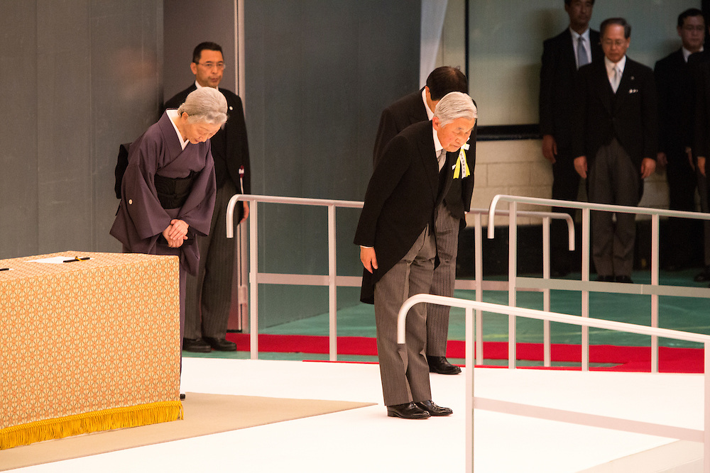 TOKYO, JAPAN - AUGUST 15 : Emperor Akihito and Empress Michiko bow to people to pay respects during the memorial service at the Nippon Budokan on the 71st anniversary of the Japan's war surrender on August 15, 2016 in Tokyo, Japan.  (Photo by Richard Atrero de Guzman/NURPhoto)