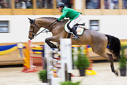 Puck Gerfried of Austria with his horse Bionda 3 jumps during Equestrian competition  FEI Grand Prix World Cup Celje 2014, on November 30, 2014 in Equestrian Centre Celje, Slovenia. Photo by Vid Ponikvar / Sportida