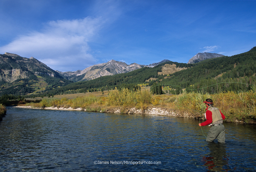 08715-P. An angler casts a fly for trout during an autumn day on Granite Creek in western Wyoming.