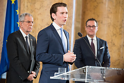 24.01.2018, Hofburg, Wien, Pyeongchang 2018, Vereidigung der Olympia-Mannschaft durch den Bundespräsidenten, im Bild Bundeskanzler Sebastian Kurz (ÖVP) vor Bundespräsident Alexander Van der Bellen und Vizekanzler Heinz-Christian Strache (FPÖ) // Austrian Federal Chancellor Sebastian Kurz in front of federal president of Austria Alexander Van der Bellen and Austrian Vice Chancellor Heinz-Christian Strache during the swearing-in of the Austrian National Olympic Committee for Pyeongchang 2018 at Hofburg in Vienna, Austria on 2018/01/24, EXPA Pictures © 2018 PhotoCredit: EXPA/ Michael Gruber