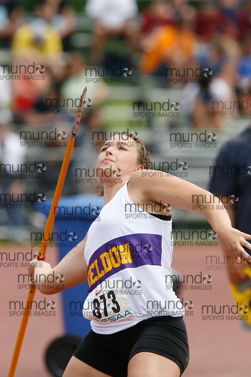 (London, Ontario}---04 June 2010) Victoria Evans of I.E. Weldon S S competing in the midget girls javelin at the 2010 OFSAA Ontario High School Track and Field Championships. Photograph copyright Dave Chidley / Mundo Sport Images, 2010.