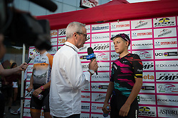 Barbara Guarischi (ITA) of CANYON//SRAM Racing talks to RAI after the Giro Rosa 2016 - Prologue. A 2 km individual time trial in Gaiarine, Italy on July 1st 2016.