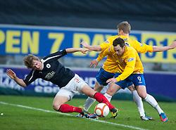 Falkirk's Stephen Kingsley and Cowdenbeath's Greg Stewart..half time : Falkirk v Cowdenbeath, 15/12/2012..©Michael Schofield.