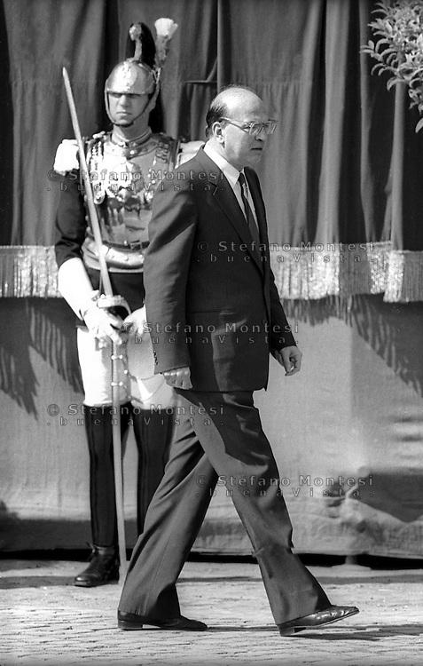 Roma 2  Giugno 1985.<br /> Bettino Craxi,Presidente del Consiglio (Prime Minister). Festa della Repubblica (Republic Day)