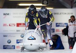 13.02.2016, Olympiaeisbahn Igls, Innsbruck, AUT, FIBT WM, Bob und Skeleton, Zweierbob Herren, 1. Lauf, im Bild Dorin Alexandru Grigore und Florin Cezar Craciun (ROU) // Dorin Alexandru Grigore and Florin Cezar Craciun of Romania competes during two men Bobsleigh 1st run of FIBT Bobsleigh and Skeleton World Championships at the Olympiaeisbahn Igls in Innsbruck, Austria on 2016/02/13. EXPA Pictures © 2016, PhotoCredit: EXPA/ Johann Groder