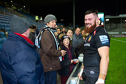 Marcus Street of Exeter Chiefs speaks with supporters after the match - Mandatory byline: Patrick Khachfe/JMP - 07966 386802 - 10/11/2019 - RUGBY UNION - Sandy Park - Exeter, England - Exeter Chiefs v Bristol Bears - Gallagher Premiership